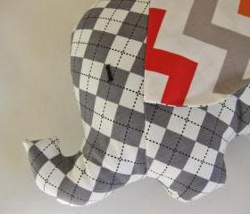 Personalised Soft toy - elephant cushion - handmade with designer fabric by Robert Kaufman in grey and white - unixex gift