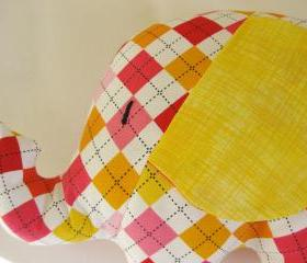 Personalised Soft toy - elephant cushion - handmade with designer fabric by Robert Kaufman colorful check design - unixex gift
