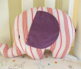 Personalised Soft toy - elephant cushion - handmade with designer fabric by Tanya Whelan in stripes in tones of purple, light pink