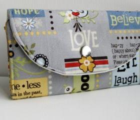 Woman handmade fabric wallet - bifold wallet &quot;Live Laugh Love&quot; in grey