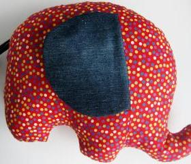 Personalised Soft toy - elephant cushion - handmade with designer fabric confetti - in red and polka dots - unisex gift