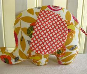 Personalised Soft toy - elephant cushion - handmade with designer fabric and name embroidered on the ears