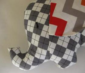 Elephant toy - elephant cushion - handmade with designer fabric by Robert Kaufman - grey check - and name embroidered on the ears