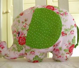 Elephant toy - elephant cushion - handmade with designer fabric by Tanya Whelan - gorgeous floral in tones of pink and greenck - and name embroidered on the ears