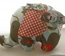 Personalised Soft toy - elephant cushion - handmade with designer fabric by Amy Butler and name embroidered on the ears